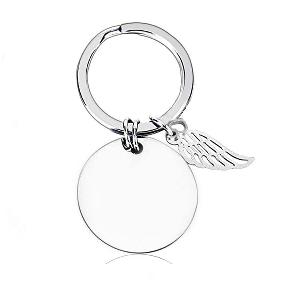 Runder Gravur-Schlüsselanhänger mit kleinem Flügel