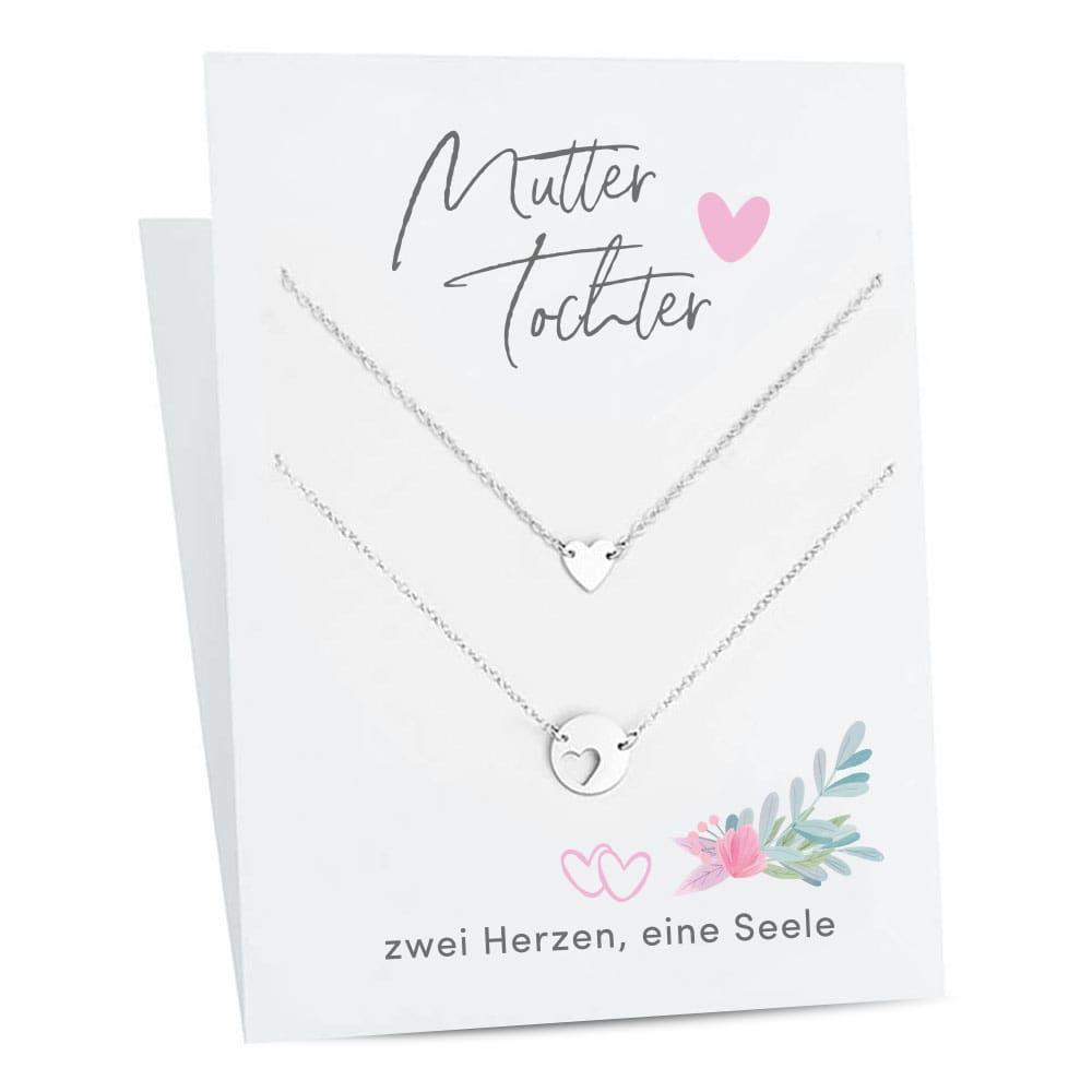 Freundschaftskette 2er Set auf Geschenkkarte - Mutter & Tochter | Geschenke für Mama | Muttertag Geschenke | Geburtstagsgeschenk Mama | Geschenk Mutter
