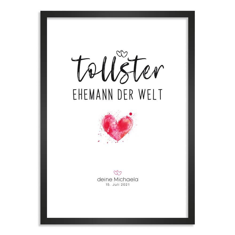 """Kunstdruck-Poster Nr. 2 mit """"Herz"""" als Geschenk mit personalisierter Widmung"""