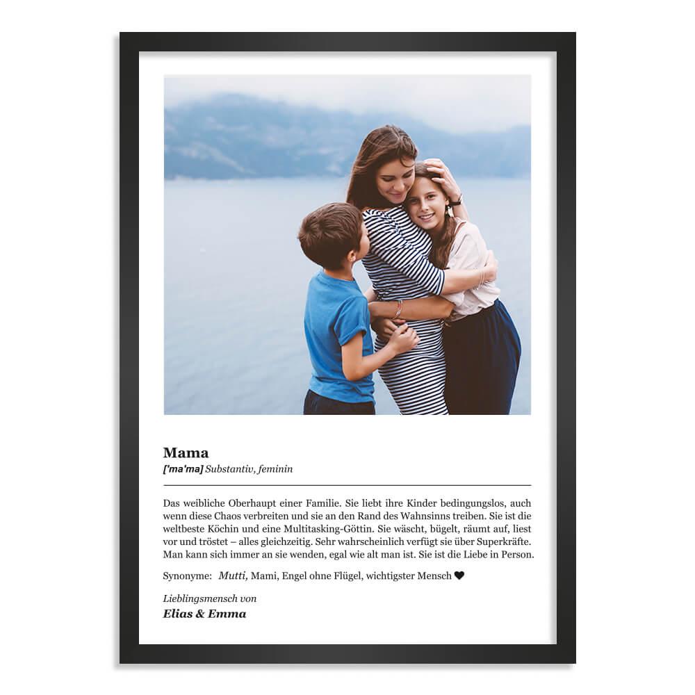 """Kunstdruck-Poster Nr. 1 """"Definition"""" als Geschenk mit personalisierter Widmung & Foto"""