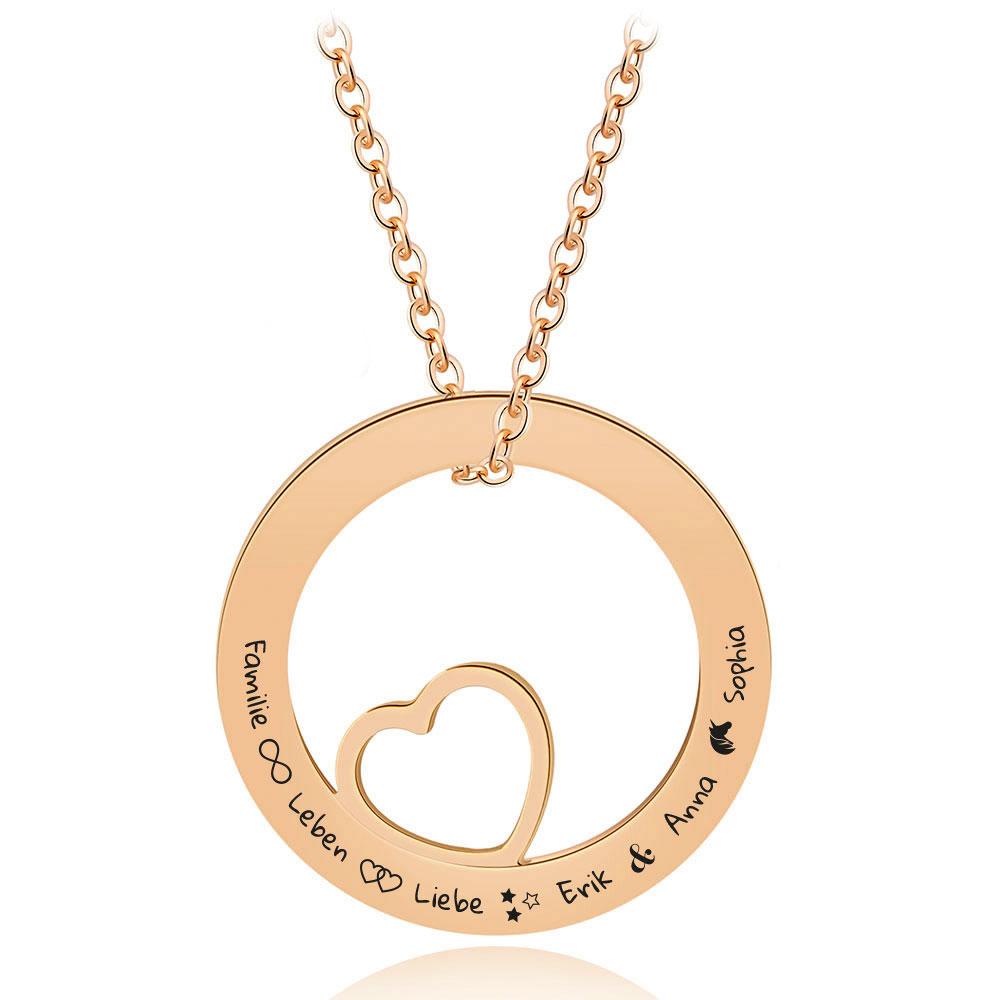 Gravur-Halskette mit einem Herzchen im Kreis