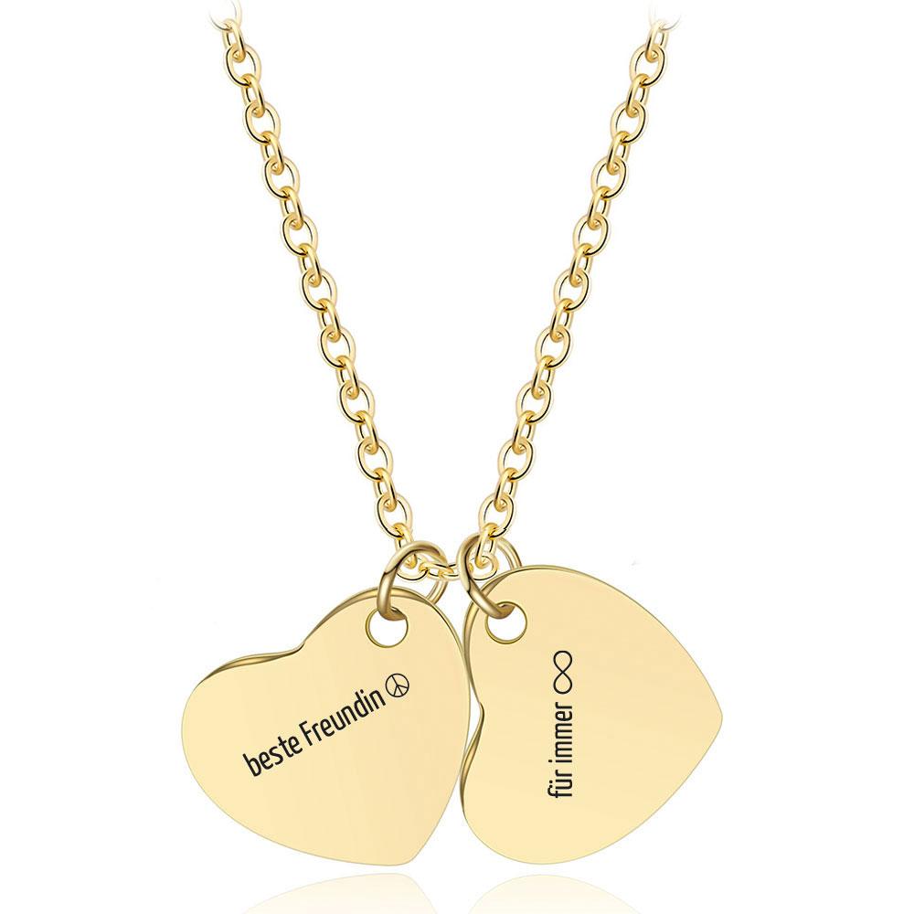 Gravur-Halskette mit Zwillings-Herzen