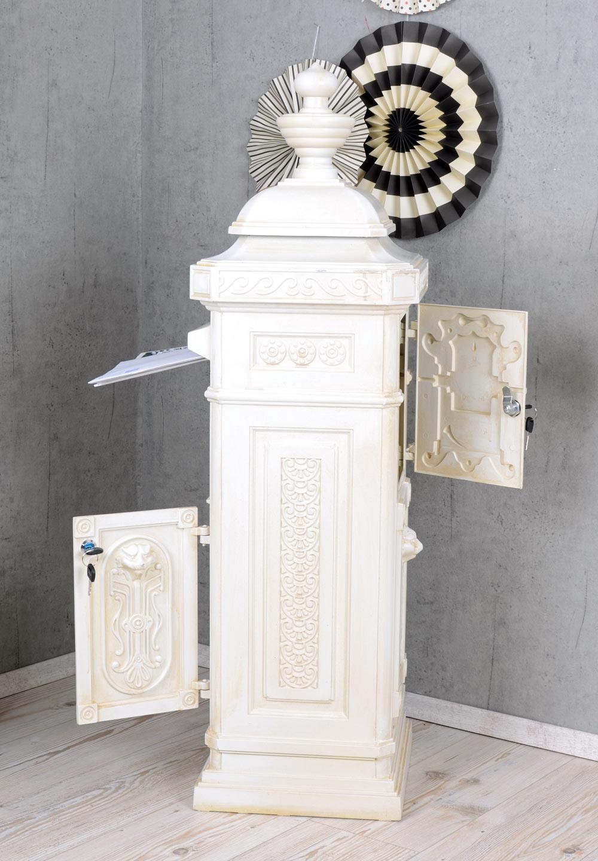 Aluminium Standbriefkasten Gründerzeit Briefkasten Antikstil Briefbox Post weiß