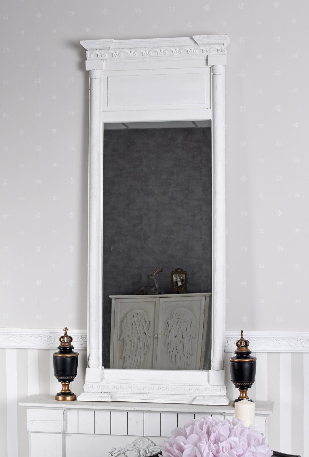 Dettagli su Specchio Antico Muro Bianco Trumeau Shabby Chic Ingresso 133cm