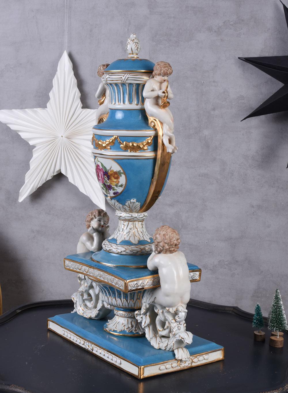 AMPHORE XXL ENGEL FIGUREN PORZELLAN Deckelvase Barock Vase Prunkgefäss Antik