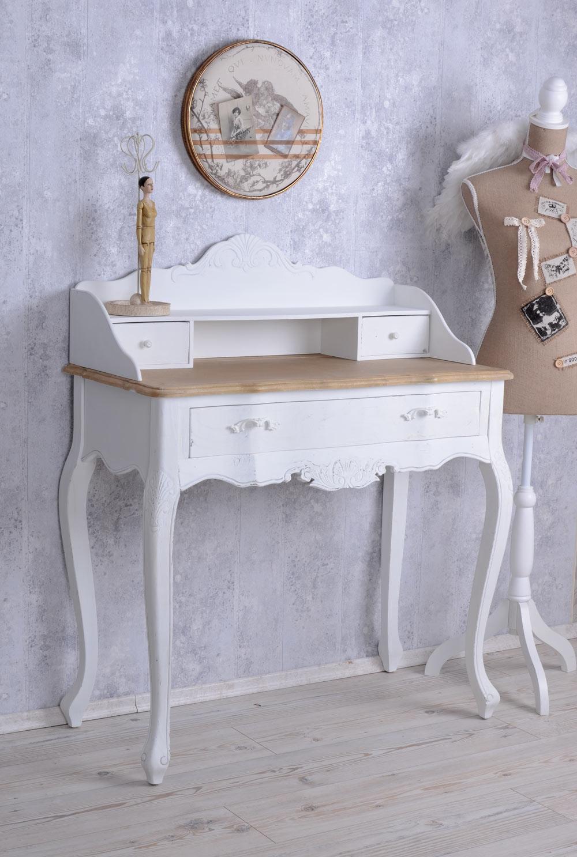 Vintage secretaire bianco scrivania shabby chic tavolo consolle tavolo da parete ebay - Parete shabby chic ...