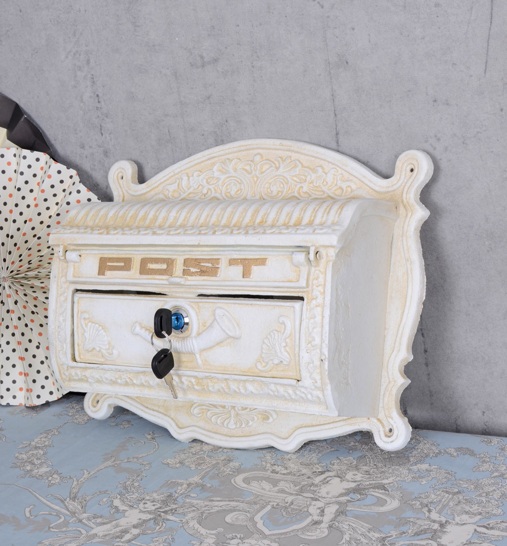 wall letterbox shabby chic cast iron wall letter box vintage postbox mailbox new 4250399906742. Black Bedroom Furniture Sets. Home Design Ideas