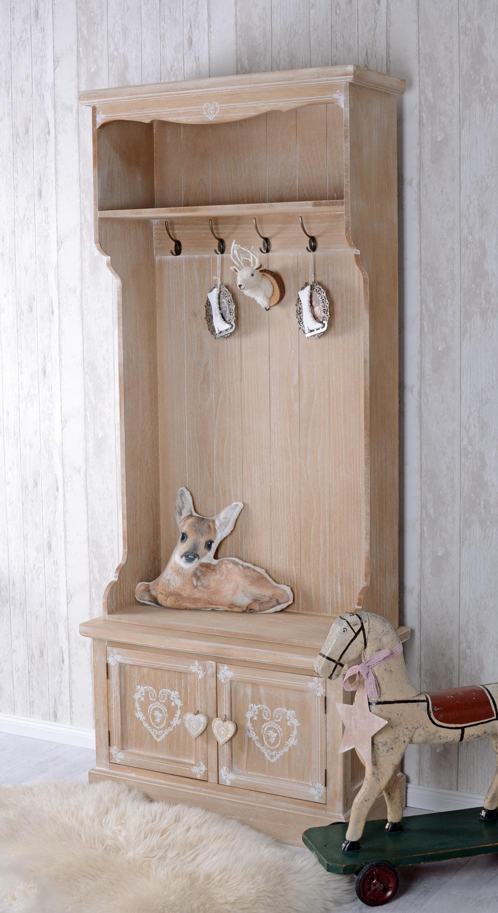 Details zu Garderobe Landhausstil Hakenleiste Schuhschrank Alpen Design  Standgarderobe