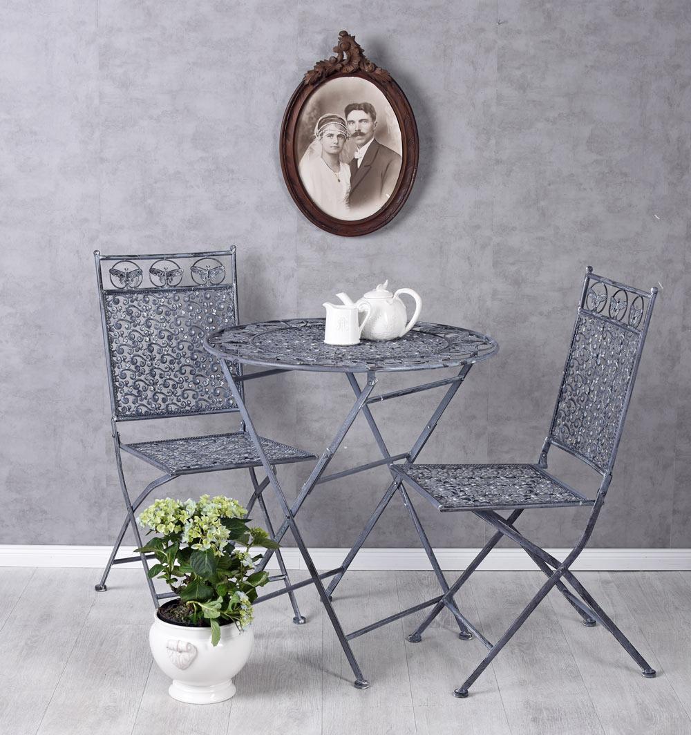 Détails sur Vintage salons de jardin table & deux chaises antique style  ensemble de meubles