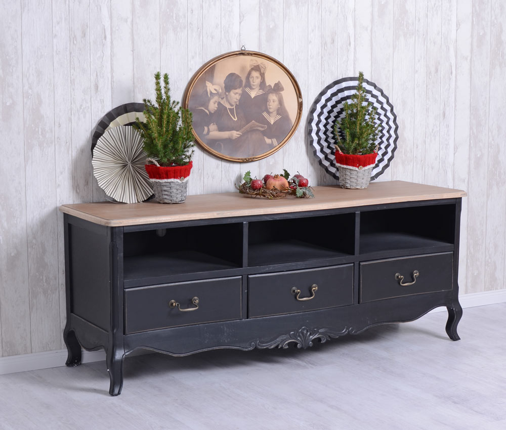 tv schrank schwarz fernsehschrank sideboard vintage fernsehtisch ebay. Black Bedroom Furniture Sets. Home Design Ideas