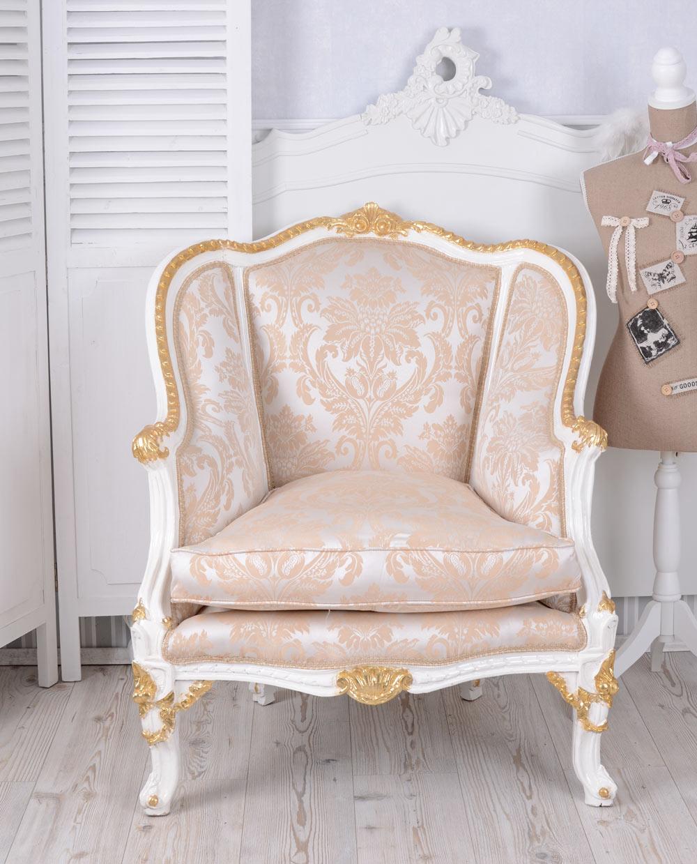 vintage sessel barock weiss gold barockstuhl bergere armlehnstuhl barocksessel ebay. Black Bedroom Furniture Sets. Home Design Ideas