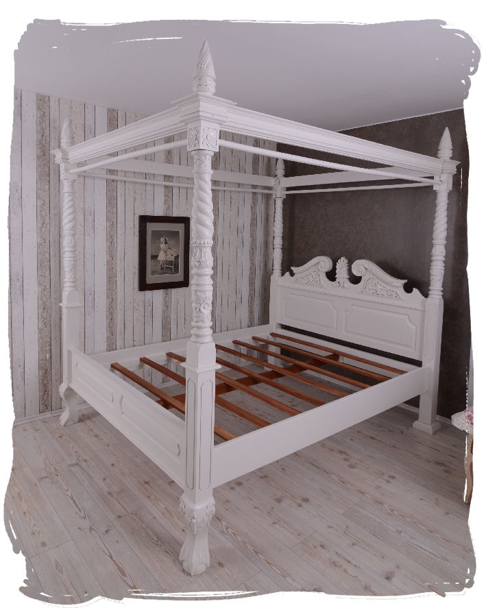 himmelbett holz doppelbett vintage bett weiss ehebett landhausstil betthimmel ebay. Black Bedroom Furniture Sets. Home Design Ideas