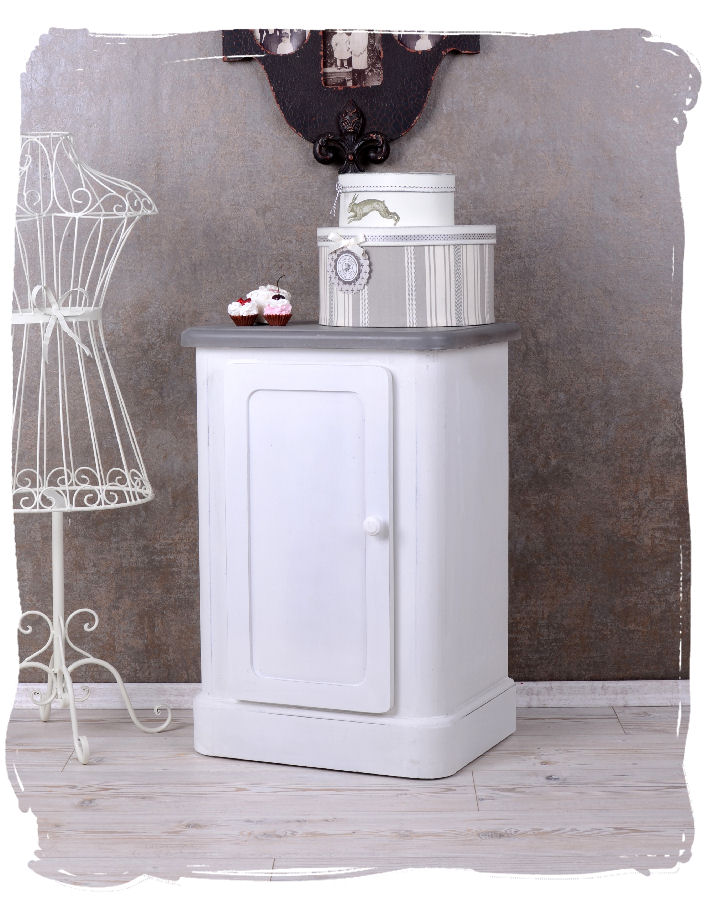 Table de Chevet Blanc Shabby Chic Console Armoire Chambre à Coucher ...