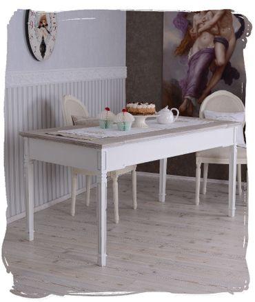 Detalles de Mesa de Comedor Estilo Rústico Vintage Madera Speisetisch Blanco