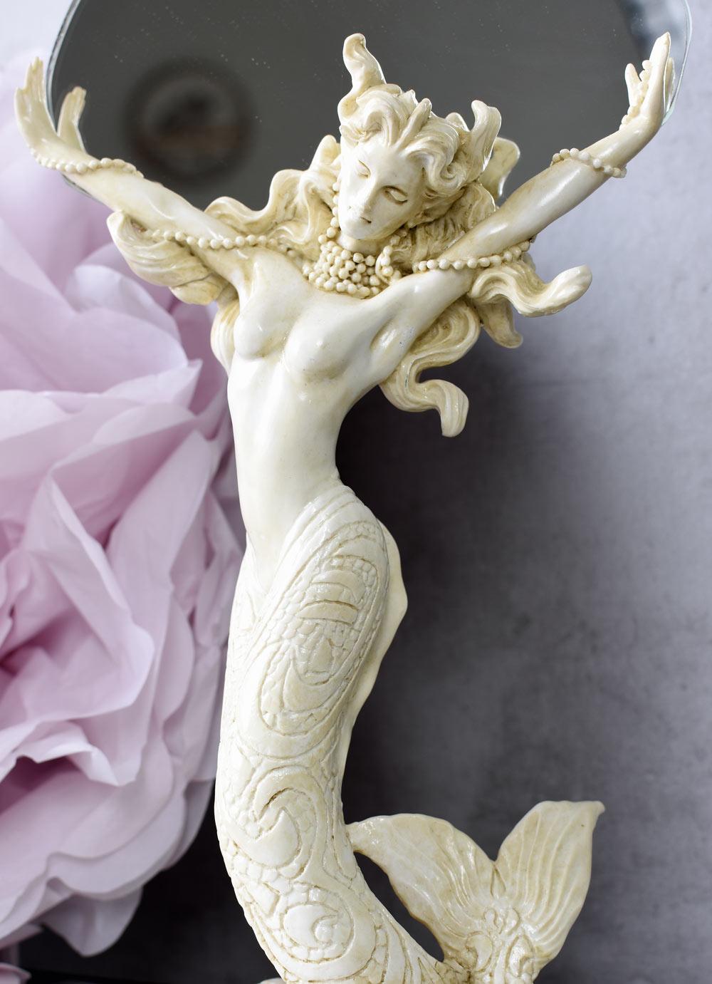 Jugendstil Spiegel Meerjungfrau Tischspiegel Dekospiegel Weiss Frauenfigur Nixe