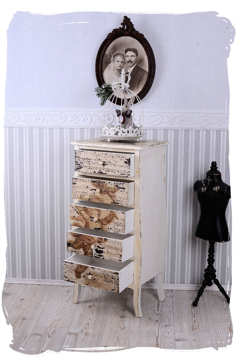 schrank shabby kommode schubladen kommodenschrank vintage weiss nachtkommode ebay. Black Bedroom Furniture Sets. Home Design Ideas