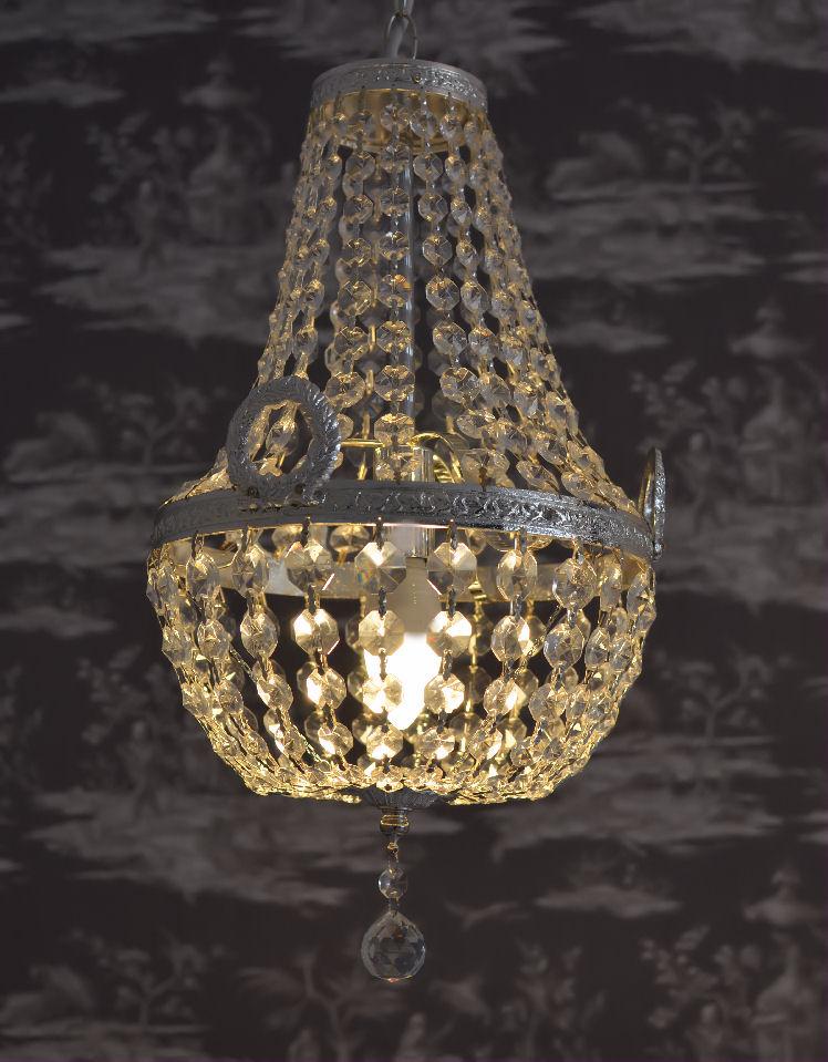 Antik Lüster Deckenleuchte Frankreich Kristalllampe Korblüster Vintage Messing