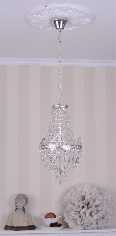 antikstil deckenlampe l ster shabby chic kristallleuchte kronleuchter silber neu ebay. Black Bedroom Furniture Sets. Home Design Ideas