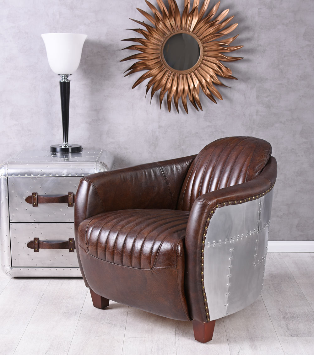 ledersessel flugzeug design clubsessel leder alu sessel aviator vintage leder ebay. Black Bedroom Furniture Sets. Home Design Ideas