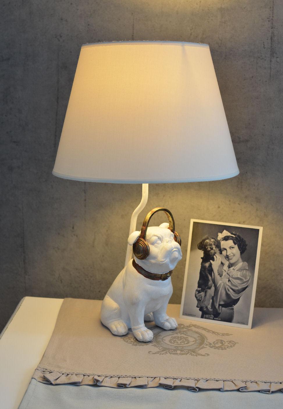 tischlampe mops weiss lampe bulldogge hundelampe shabby chic leuchte ebay. Black Bedroom Furniture Sets. Home Design Ideas