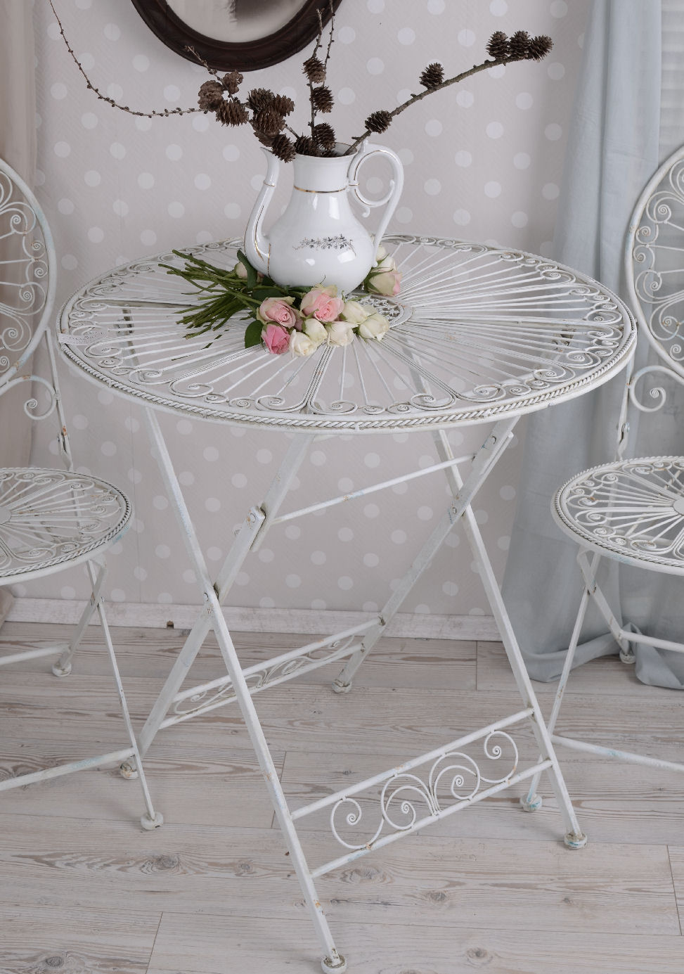 gartentisch metall shabby chic tisch gartenm bel weiss eisentisch metalltisch ebay. Black Bedroom Furniture Sets. Home Design Ideas