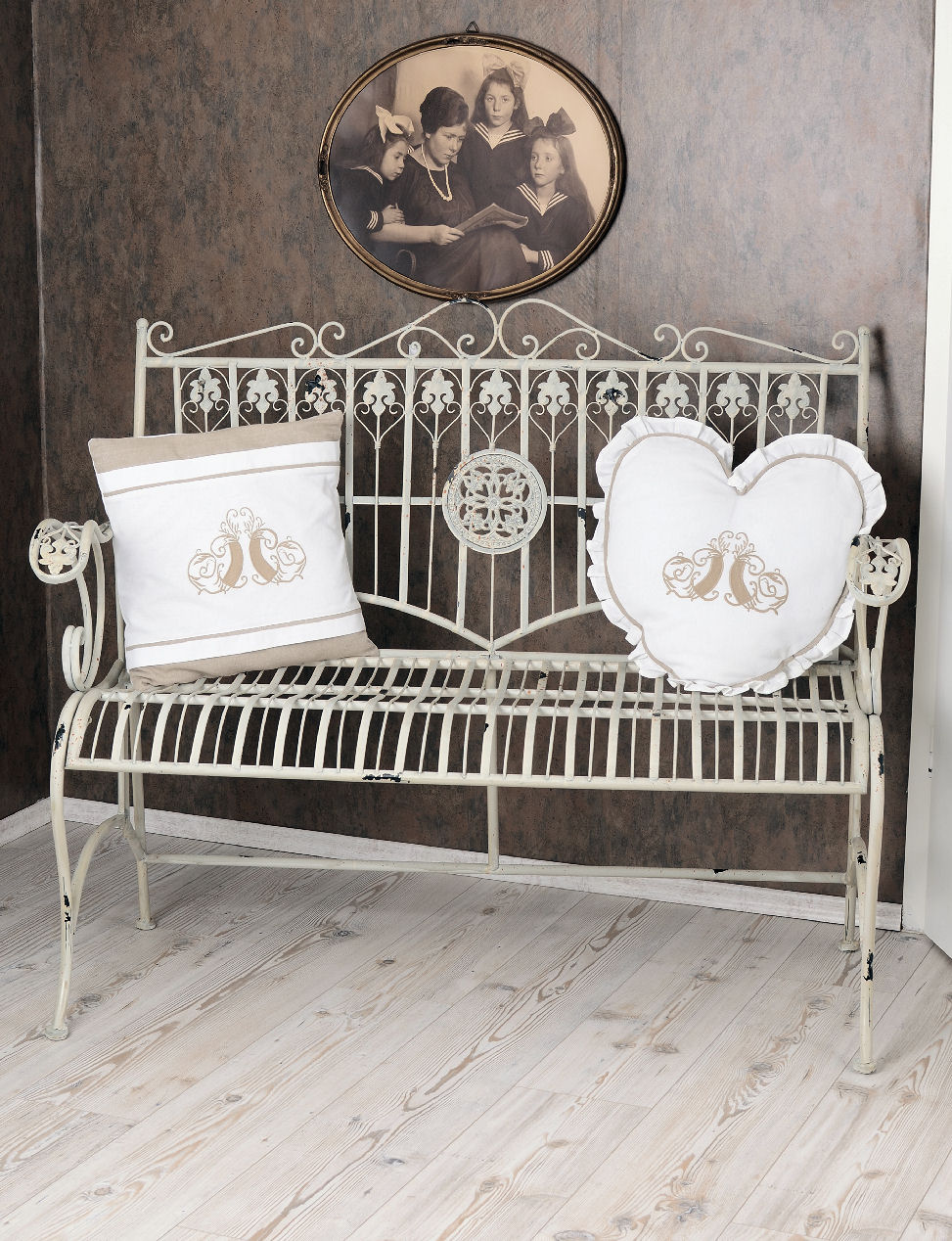sitzbank shabby bank weiss gartenbank vintage metallbank. Black Bedroom Furniture Sets. Home Design Ideas