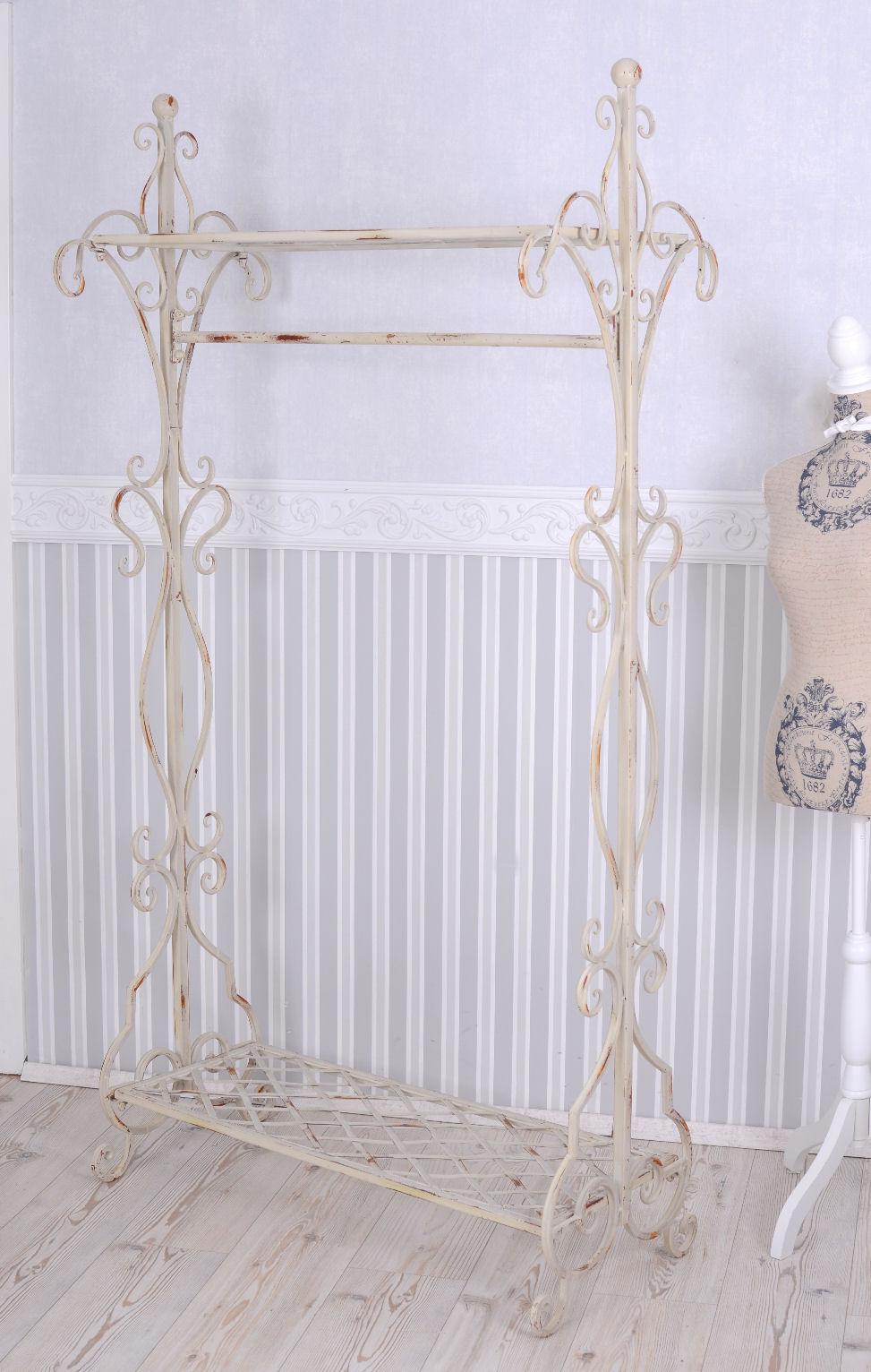 garderobenst nder landhausstil altweiss kleiderst nder garderobe metall vintage ebay
