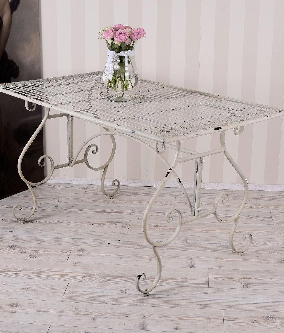 TABLE DE JARDIN VINTAGE BLANC MÉTAL GRAND TABLE SHABBY CHIC | eBay