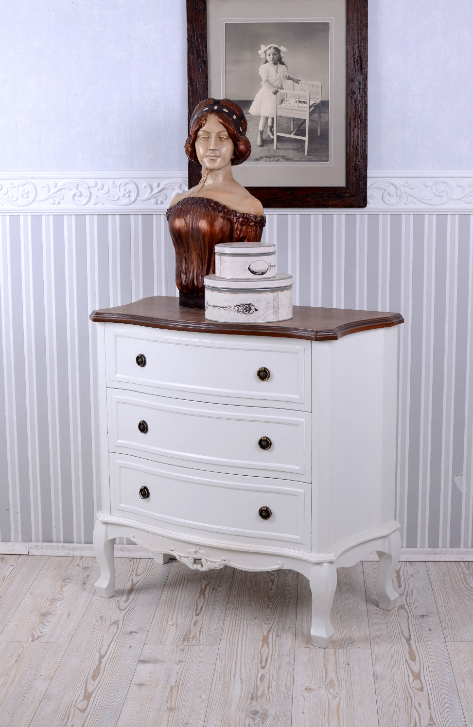 Old Bedside Table: Chest Of Drawers Country Style Bedside Table White Antique