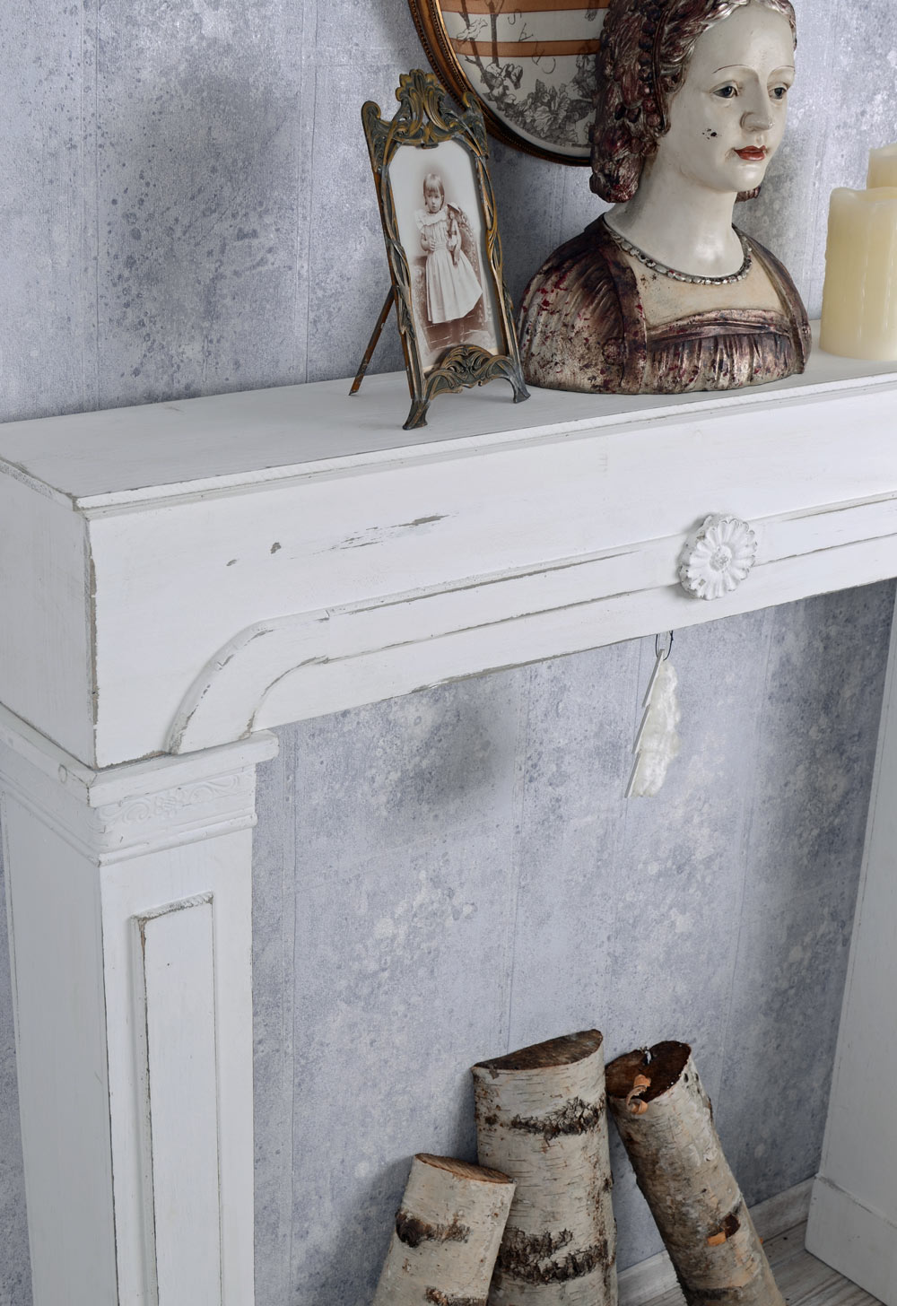 kaminkonsole shabby chic dekokamin vintage kamin weiss holzkamin ebay. Black Bedroom Furniture Sets. Home Design Ideas