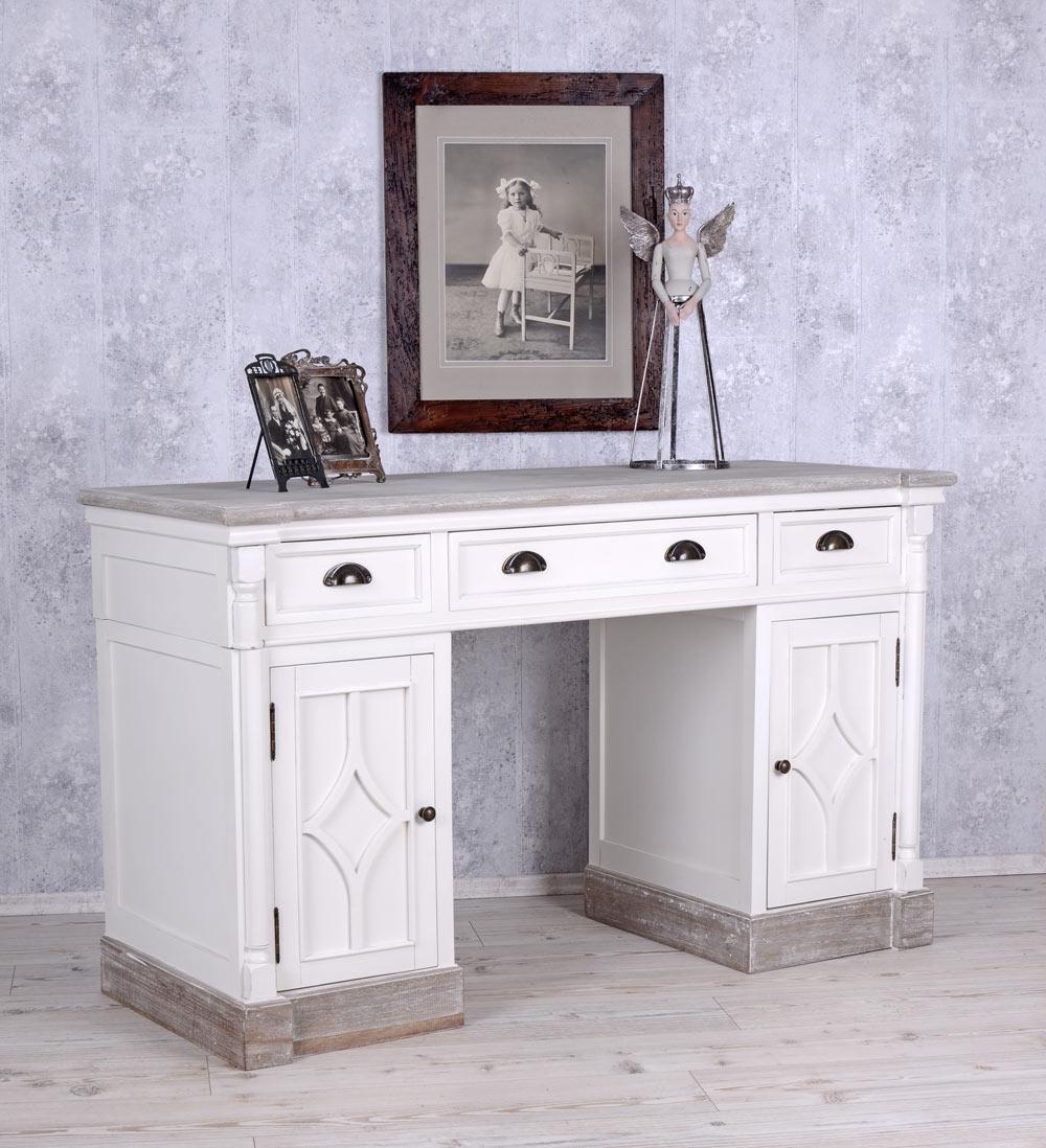 schreibtisch weiss b ro tisch computertisch shabby chic vintage ebay. Black Bedroom Furniture Sets. Home Design Ideas