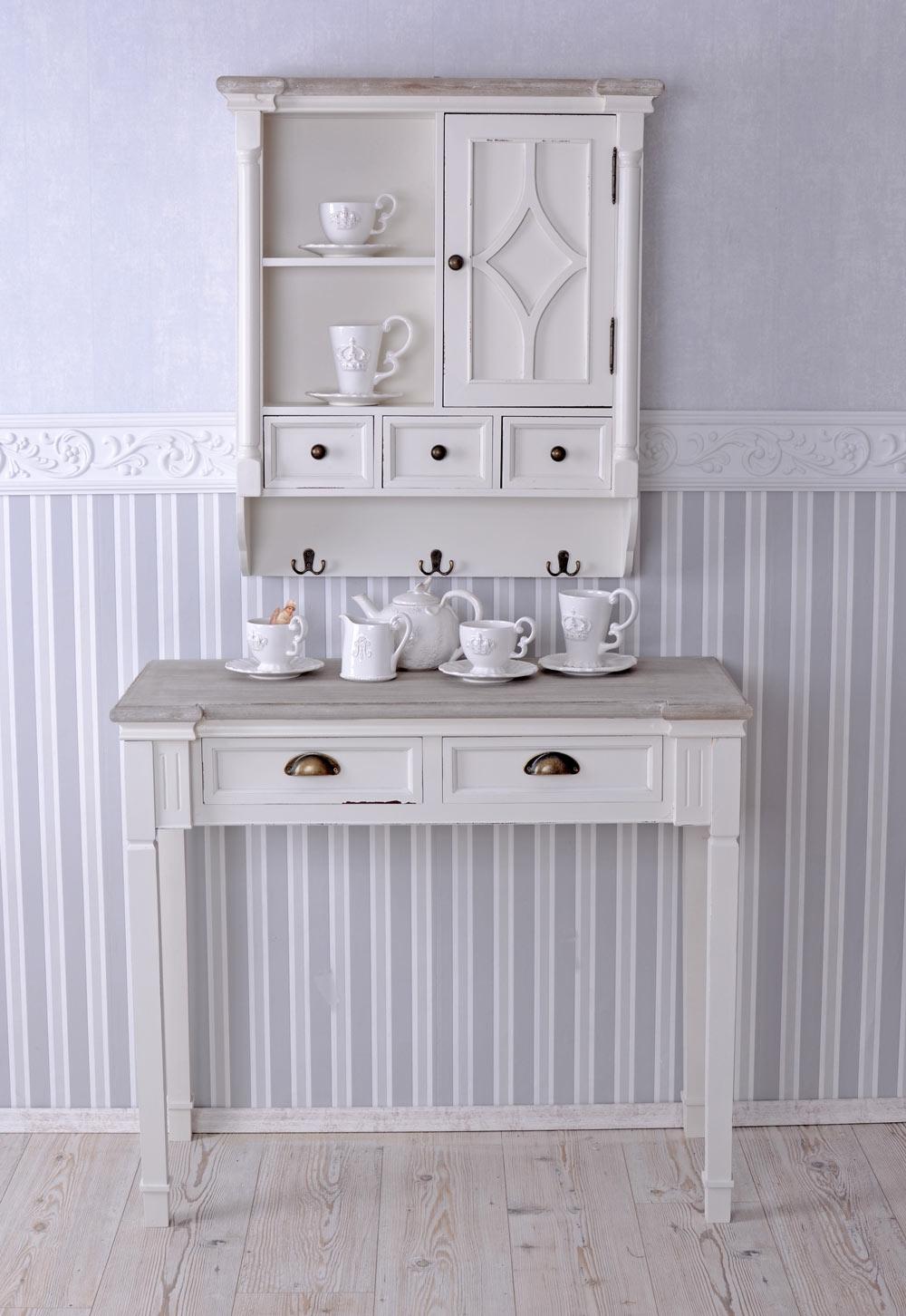Tavolo consolle shabby chic bianco da parete tavolino for Consolle shabby chic