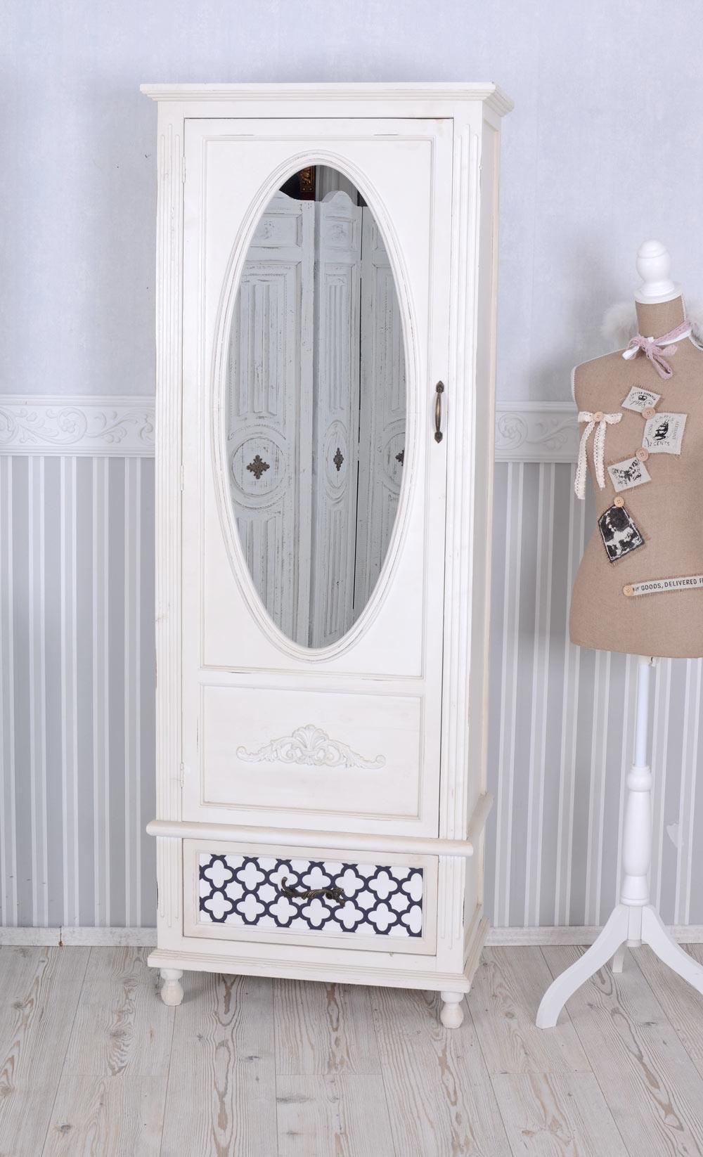 Vintage Schrank Shabby Chic Kleiderschrank Weiss Wäscheschrank Spiegel