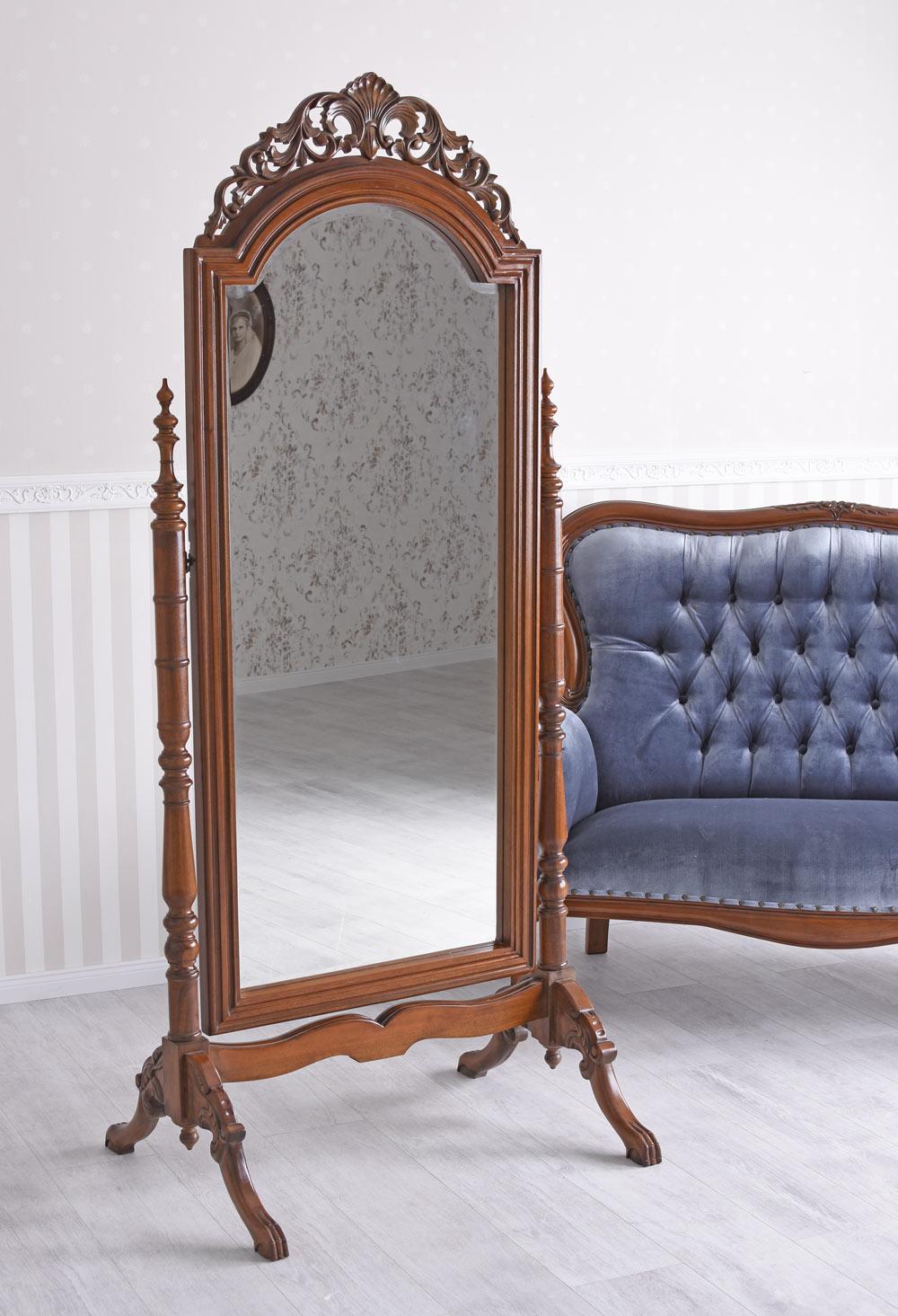 Ankleidespiegel Mahagoni Massivholz Spiegel Antik Standspiegel Ganzkörperspiegel