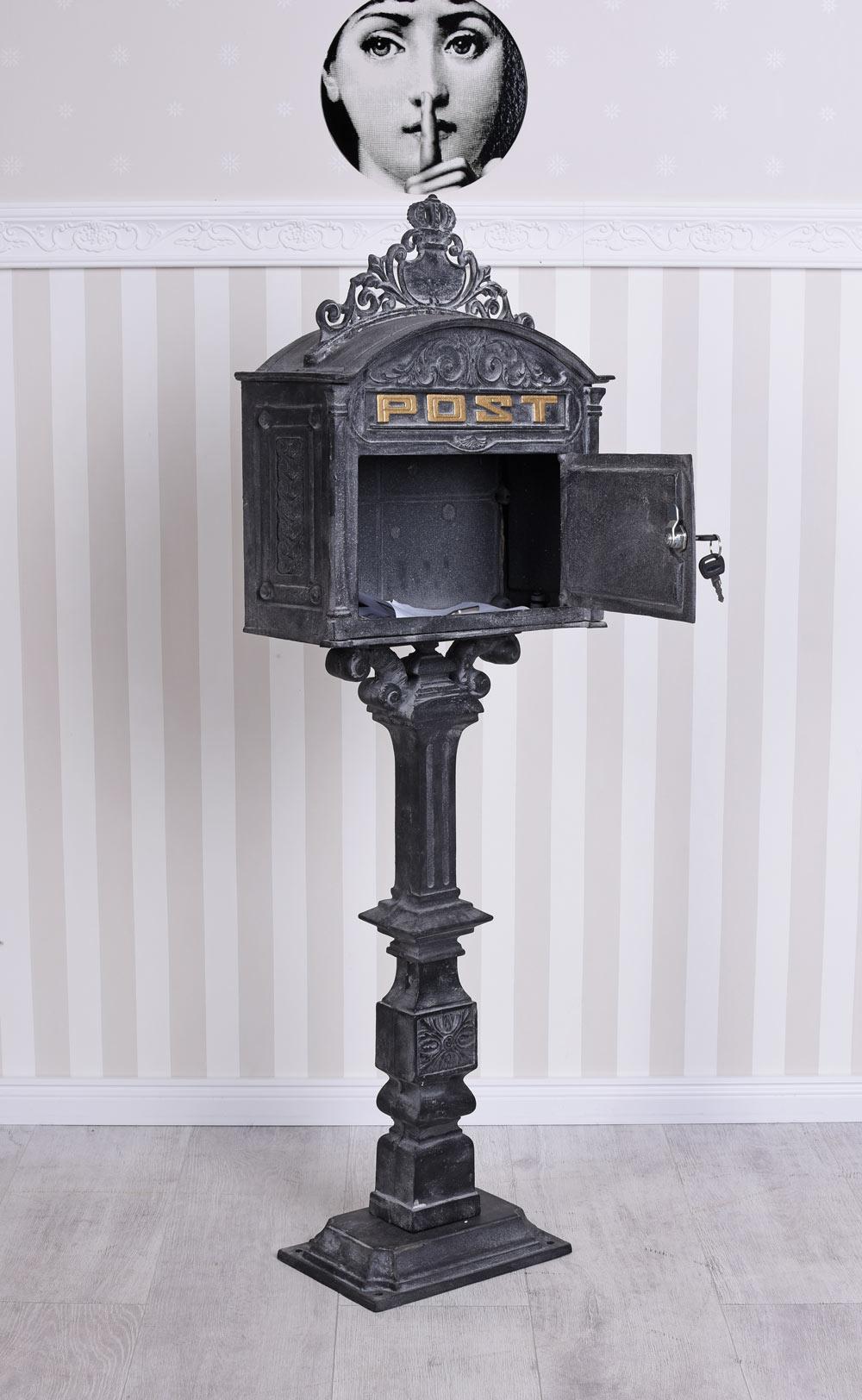 Standbriefkasten Grau Briefkasten Antik Postkasten Gusseisen Letterbox Vintage