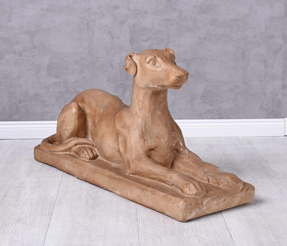 Hundefigur Garten Hauseingang Figur Windhund Hund Landhaus Skulptur Statue 70cm