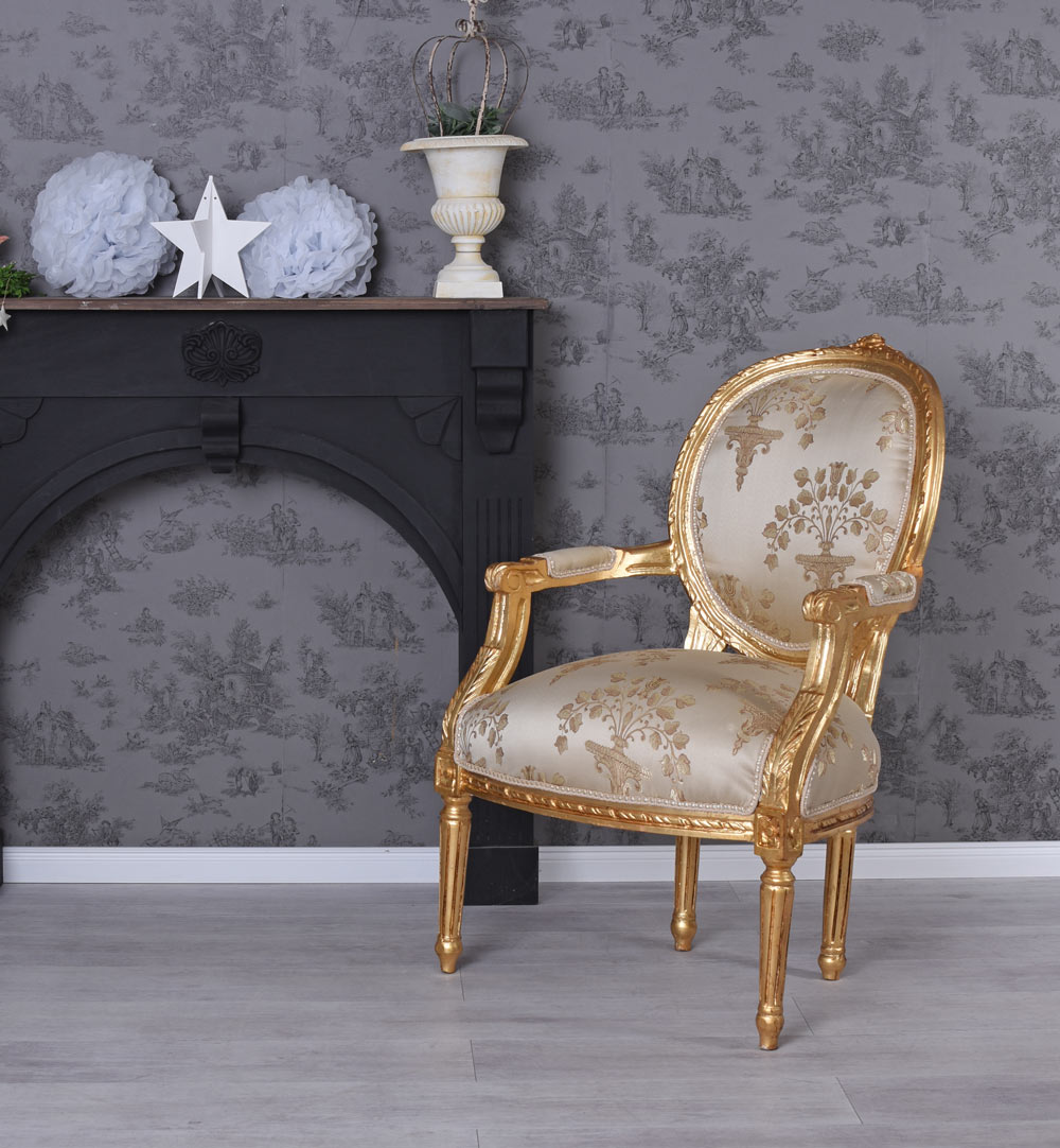 Esszimmerstuhl Barock Stuhl Barocksessel Gold Sessel