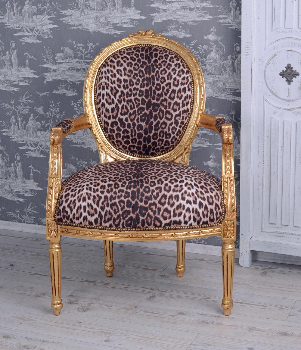 Barocksessel Leopard Gold Armlehnstuhl Sessel Barock Leo