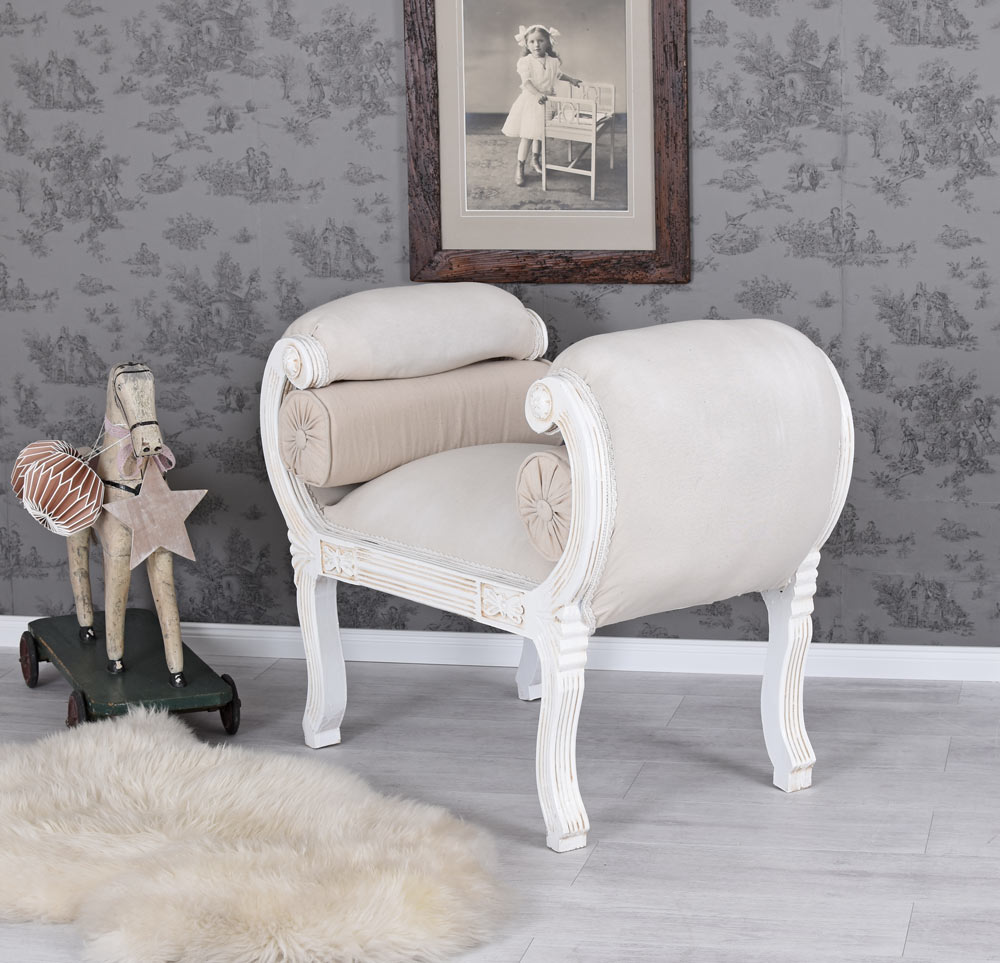 sofa barock sitzbank weiss couch shabby chic volutensofa. Black Bedroom Furniture Sets. Home Design Ideas