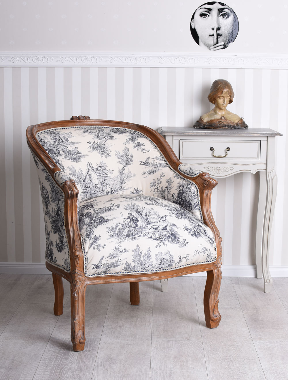 Französischer Sessel Antik Barockstuhl toile de jouy Ohrensessel Polstersessel