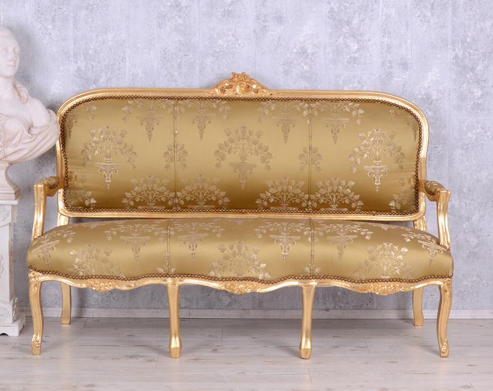 Détails sur Baroque Canapé Salon Banc Ancien Meubles de Style Rokoko Or