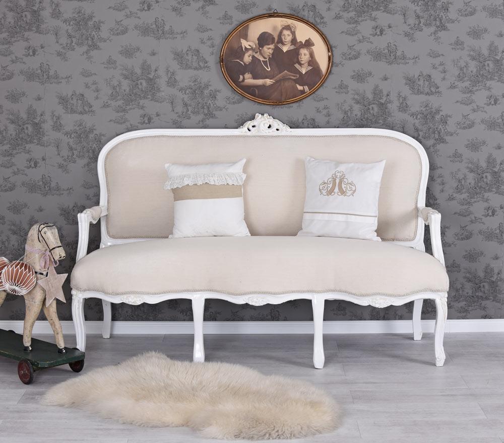 ROKOKO SOFA WEISS Couch SHABBY SITZBANK SALONSOFA