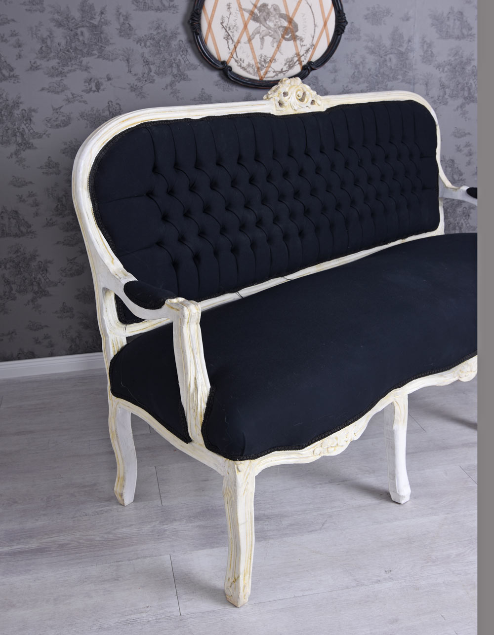 Détails sur Canapé de Salon Baroque Banc Noir Blanc Rembourré Antique