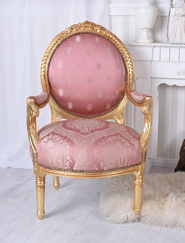 Krzesła Stuhlset Barock Stühle Stuhl Rosa Gold zwei Armlehnstühle Barocksessel Antik