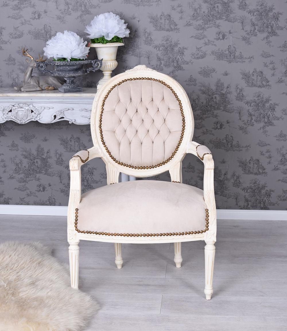 Medaillon Stuhl Sessel Shabby Chic Polsterstuhl Barocksessel Armlehnstuhl Antik