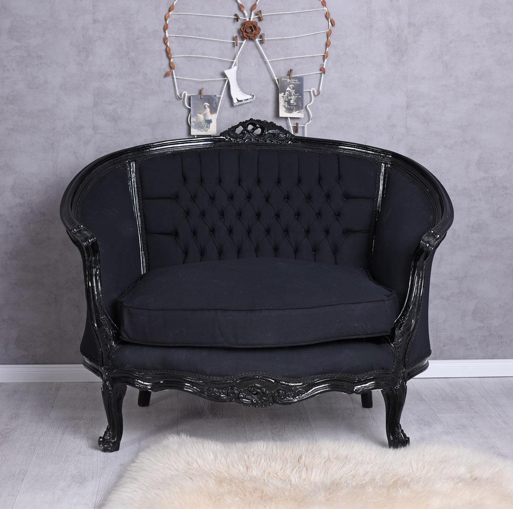 Details zu Sessel Barock Sofa Schwarz Sitzbank Kanapee Barocksofa Vintage  Barocksessel