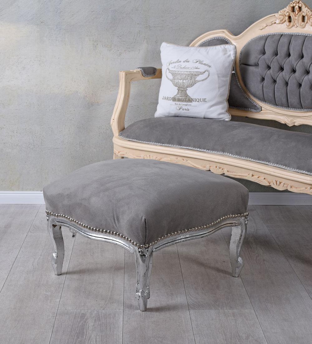 Footrest Pouf Stool Baroque Silver Vintage Solid Wood