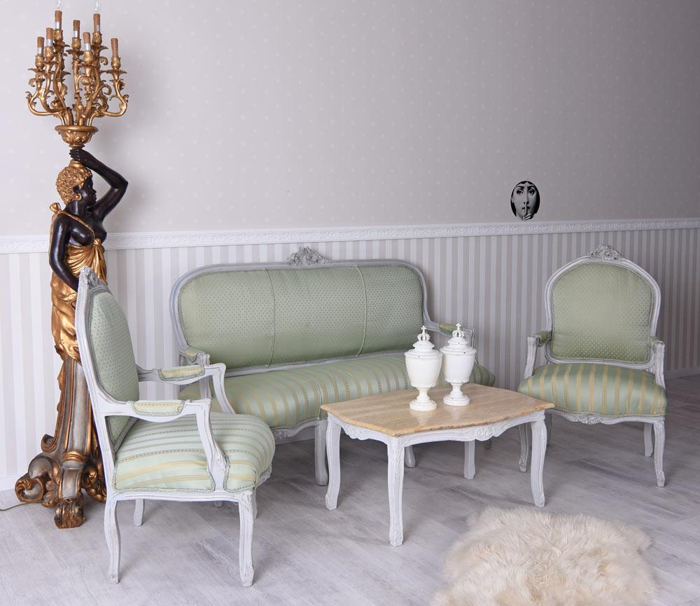 Salon Garnitur Südfrankreich Toile de Jouy Sofa Sessel Shabby Chic