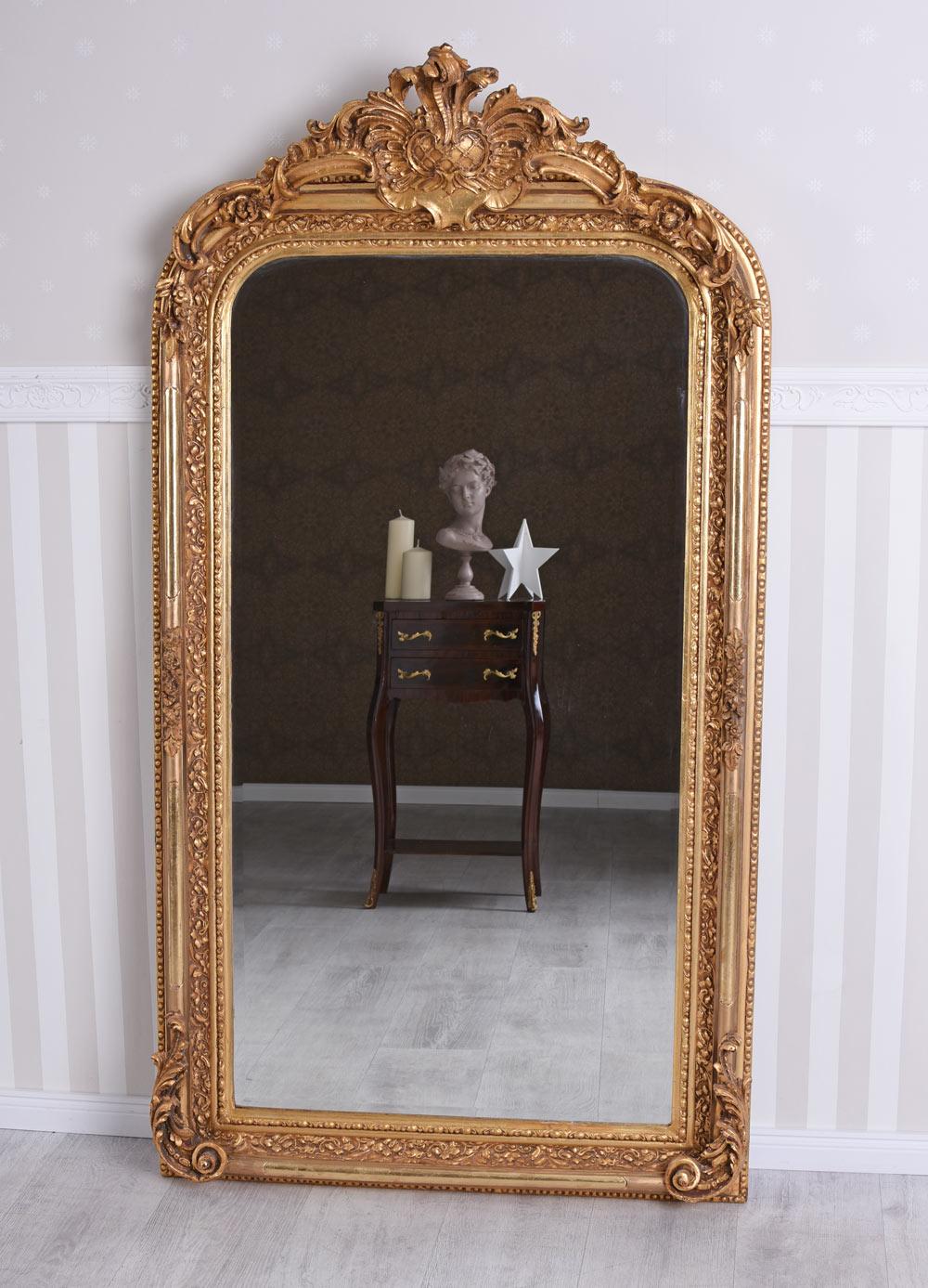 Miroir baroque mural de chemin e pleine longueur ancien ebay for Miroir mural baroque