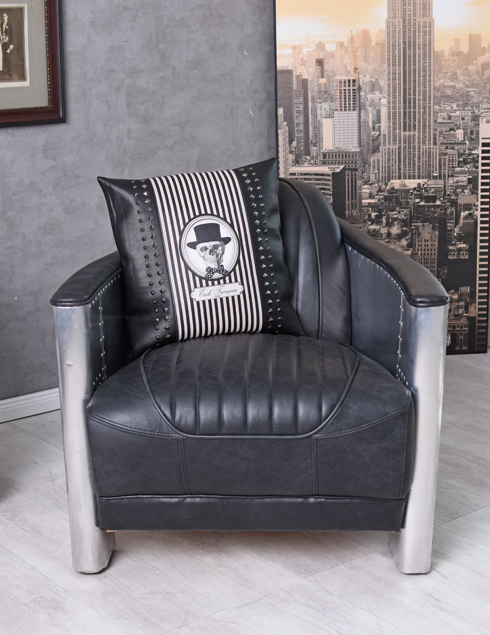 Armchair Vintage Leather Armchair Aluminium Lounge Chair ...